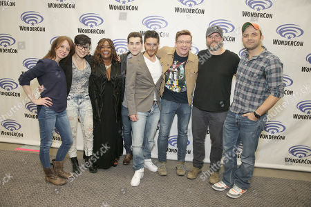 "Executive Producer Lauren Montgomery, Bex Taylor-Klaus, Kimberly Brooks, Jeremy Shada, Josh Keaton, Rhys Darby, Tyler Labine and Executive Producer Joaquim Dos Santos seen at DreamWorks Animation ""Voltron: Legendary Defender"" Wondercon Presentation at Los Angeles Convention Center, in Los Angeles, CA"