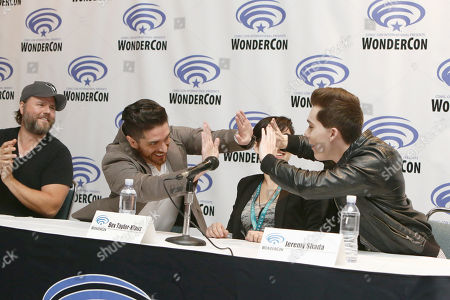 "Tyler Labine, Josh Keaton, Bex Taylor-Klaus and Jeremy Shada seen at DreamWorks Animation ""Voltron: Legendary Defender"" Wondercon Presentation at Los Angeles Convention Center, in Los Angeles, CA"