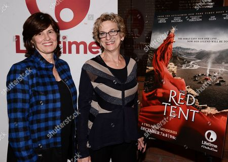 """Stock Picture of IMAGE DISTRIBUTED FOR LIFETIME - Senior VP of original movies at Lifetime Tanya Lopez, left, and """"The Red Tent"""" author Anita Diament attend the screening of the Lifetime mini-series at the Stephen Wise Temple on in Los Angeles. """"The Red Tent"""" premieres on Lifetime on Sunday, Dec. 7, 2014 and Monday, Dec. 8, 2014"""