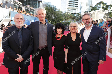 """Producers Ged Doherty, Marc Turtletaub, Nancy Buirski, Sarah Green and Peter Saraf seen at Focus Features' """"LOVING"""" premiere at the 2016 Toronto International Film Festival, in Toronto"""