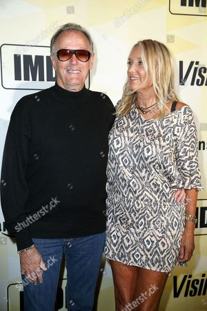 Peter Fonda, left, and Parky Fonda arrive at IMDB's 25th Anniversary Party at Sunset Tower Hotel, in West Hollywood, Calif