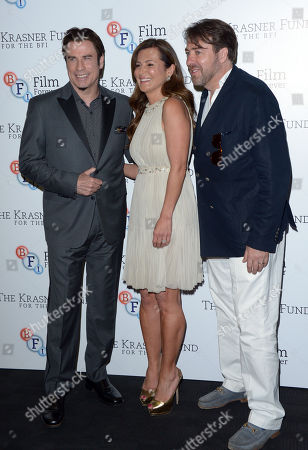 """John Travolta, Ella Krasner and Jonathan Ross are seen at a Photocall for a BFI screening of Killing Season at the BFI Southbank in London on . John Travolta joins Ella Krasner to support The Krasner Fund for the BFI Collections â?"""" the largest archive of film and television in the world"""