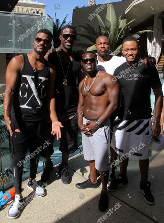 Actors Damien Wayans, Lance Gross, Kevin Hart, Durrell Babbs (aka Tank) and Terrence Jenkins seen at Hartbeat Weekend Events - Hartbeat Pool Party at Boulevard pool at The Cosmopolitan on in Las Vegas, Nevada