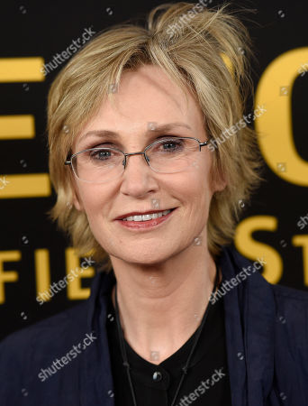 "Actress Jane Lynch poses at the premiere of the film ""Be Here Now (The Andy Whitfield Story),"" at the UTA Theater, in Beverly Hills, Calif"