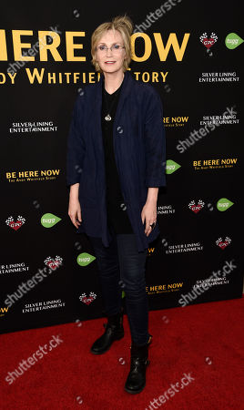 "Actress Jane Lynch poses at the premiere of the film ""Be Here Now (The Andy Whitfield Story),"" at the UTA Theater, in Beverly Hills, Calif. Whitfield died of non-Hodgkin lymphoma in 2011"