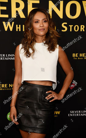 "Stock Picture of Actress Lesley Ann Brandt poses at the premiere of the film ""Be Here Now (The Andy Whitfield Story),"" at the UTA Theater, in Beverly Hills, Calif. Whitfield died of non-Hodgkin lymphoma in 2011"