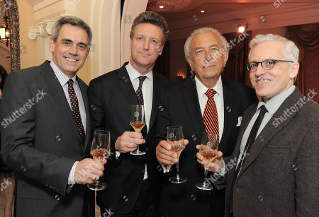 From left, Randall Arney, Yves De Launay, Frank Mancuso and Donald Margulies attend the LOUIS XIII and Audi Chairman's Circle Dinner for the Geffen Playhouse on at a private residence in Los Angeles