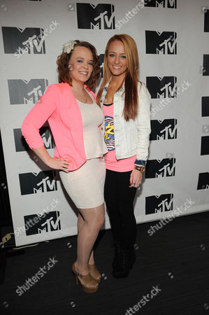"""From left, Katelynn Lowell and Maci Bookout from """"Teen Mom"""" appear during MTV's Restore the Shore telethon at the MTV Times Square Studios on in New York"""