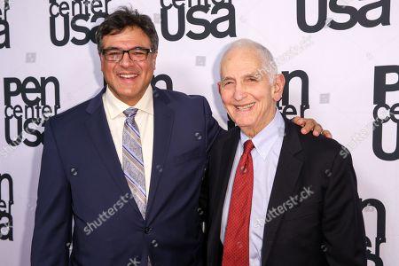 John Kiriakou, left, and Daniel Ellsberg arrive at PEN Center USA's 25th Annual Literary Awards Festival at the Beverly Wilshire Hotel, in Beverly Hills, Calif