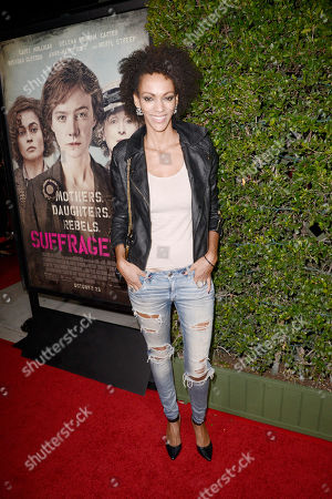 Stock Picture of Judith Shekoni seen at Los Angeles Premiere of Focus Features' 'Suffragette' at the Academy of Motion Pictures Arts and Sciences, in Los Angeles, CA