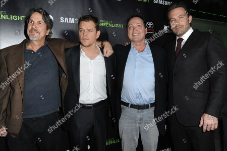 From left, Peter Farrelly, Matt Damon, Bobby Farrelly, and Ben Affleck arrive at Project Greenlight Season Four Winner Revealed, in Los Angeles