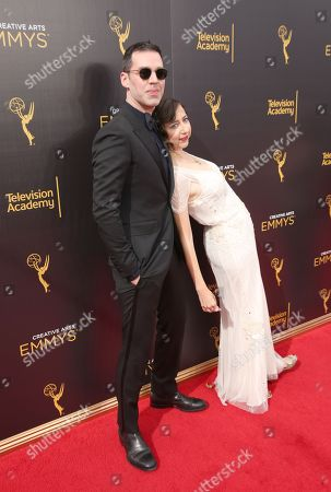 Rich Blomquist, left, and Kristen Schaal arrive at night two of the Television Academy's 2016 Creative Arts Emmy Awards at the Microsoft Theater on in Los Angeles