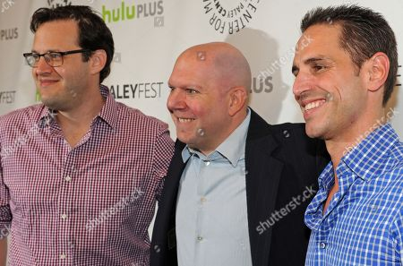 Photo of from left, Andrew Kreisberg, Marc Guggenheim and Greg Berlanti courtesy of Samsung Galaxy, taken during the Paley Center for Media's PaleyFest, honoring Arrow at the Saban Theatre, in Los Angeles, California
