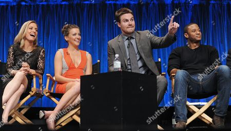 Photo of, from left, Susanna Thompson, Katie Cassidy, Stephen Amell and David Ramsey courtesy of Samsung Galaxy, taken during the Paley Center for Media's PaleyFest, honoring Arrow at the Saban Theatre, in Los Angeles, California