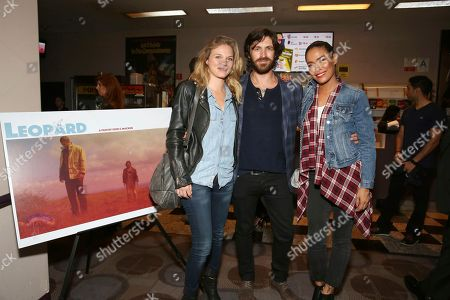 "Stock Picture of Tracy Spiridakos, writer/director/actor Eoin Macken and Daniella Alonso seen at the American premiere of ""Leopard"" at the Laemmle Music Hall, in Beverly Hills, Calif"