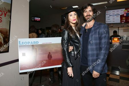 "Roxanne McKee and writer/director/actor Eoin Macken seen at the American premiere of ""Leopard"" at the Laemmle Music Hall, in Beverly Hills, Calif"
