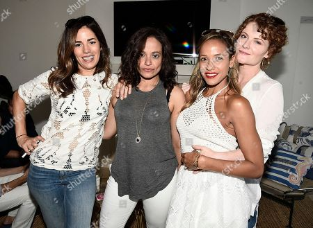 From left to right, actress Ana Ortiz, actress Judy Reyes, actress Dania Ramirez, and actress Rebecca Wisocky at the Kia Malibu Beach House Presented by Teva on in Malibu, Calif. Ramirez, Martinez, Ortiz, Wisocky and Reyes later live tweeted an episode of their television show Devious Maids