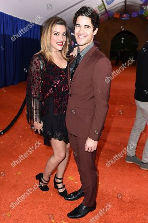 "Darren Criss, Mia Swier. Darren Criss and Mia Swier arrive at the Los Angeles premiere of ""Coco"" at the El Capitan Theatre, in Los Angeles"