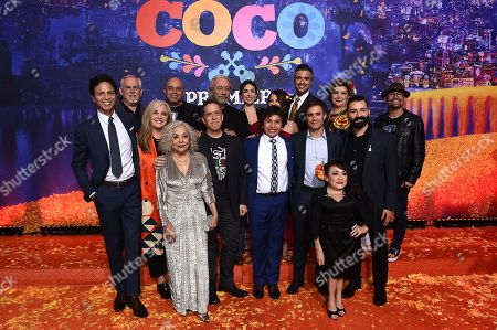 "Stock Picture of Benjamin Bratt, John Ratzenberger, Darla K Anderson, Renee Victor, Herbert Siguenza, Lee Unkrich, Edward James Olmos, Natalia Cordova-Buckley, Anthony Gonzalez, Alanna Ubach, Jaime Camil, Gael Garcia Bernal, Selene Luna, Blanca Araceli, Adrian Molina, Lombardo Boyar. The cast and filmmakers (left -right), Benjamin Bratt, John Ratzenberger, Darla K Anderson, Renee Victor, Herbert Siguenza, Lee Unkrich, Edward James Olmos, Natalia Cordova-Buckley, Anthony Gonzalez, Alanna Ubach, Jaime Camil, Gael Garcia Bernal, Selene Luna, Blanca Araceli, Adrian Molina and Lombardo Boyar arrive at the Los Angeles premiere of ""Coco"" at the El Capitan Theatre, in Los Angeles"