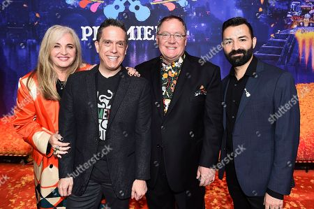 "Darla K Anderson, Lee Unkrich, John Lasseter, Adrian Molina. From left, Darla K Anderson, Lee Unkrich, John Lasseter and Adrian Molina arrive at the Los Angeles premiere of ""Coco"" at the El Capitan Theatre, in Los Angeles"