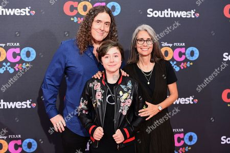 """Weird Al"""" Yankovic, Nina Yankovic, Suzanne Yankovic. Weird Al"""" Yankovic, Nina Yankovic and Suzanne Yankovic arrive at the Los Angeles premiere of """"Coco"""" at the El Capitan Theatre, in Los Angeles"""