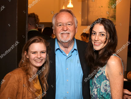 """From left, cast members Brighid Fleming, Dakin Matthews and Jeanne Syquia pose during the party for the world premiere of """"The Nether"""" at Center Theatre Group's Kirk Douglas Theatre on in Culver City, Calif"""