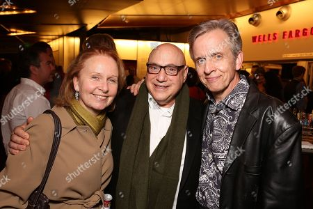 "From left, actress Kate Burton, composer Henry Krieger and cast member Robert Joy pose during the party for the world premiere of ""The Nether"" at Center Theatre Group's Kirk Douglas Theatre on in Culver City, Calif"
