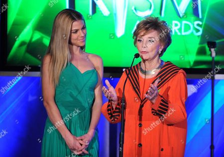 """Actress Peggy McCay accepts the award for daytime drama storyline for """"Days of our Lives"""" at the 17th Annual Prism Awards Ceremony at The Beverly Hills Hotel, in Beverly Hills, Calif. Pictured at left is actress Kate Mansi"""