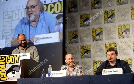 """From left, creator/executive producer Loren Bouchard, actors H. Jon Benjamin and Eugene Mirman attend the FOX """"Bob's Burgers"""" panel on Day 3 of Comic-Con International on in San Diego, Calif"""