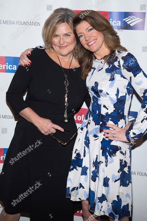 Cynthia McFadden, left, and Norah O'Donnell attend the International Women's Media Foundation's 26th Annual Courage in Journalism Awards at Cipriani's 42nd Street, in New York