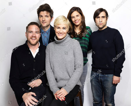 """Director Patrick Brice, from left, Adam Scott, Judith Godreche, Naomi Scott and Jason Schwartzman pose for a portrait to promote the film, """"The Overnight"""", at the Eddie Bauer Adventure House during the Sundance Film Festival, in Park City, Utah"""
