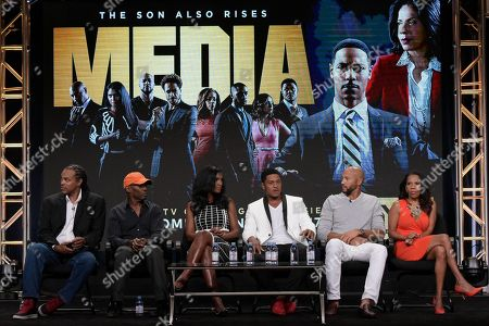 """Craig Ross Jr., from left, Kevin Arkadie, Denise Boutte, Pooch Hall, Stephen Bishop and Penny Johnson Jerald participates in the """"Media"""" panel during the TV One Television Critics Association summer press tour on Monday, Aug.1, 2016, in Beverly Hills, Calif"""