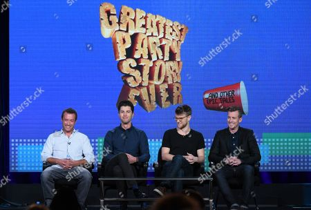 "Alex Bulkley, from left, Ben Nemtin, Jonnie Pen and Jordan Barrow speak during the ""Greatest Party Story Ever...And Other Epic Tales"" panel at the MTV 2016 Winter TCA, in Pasadena, Calif"