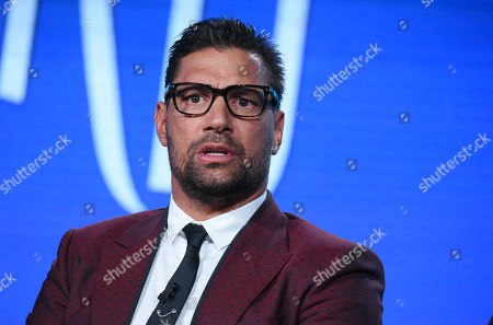 """Manu Bennett speaks during the """"The Shannara Chronicles"""" panel at the MTV 2016 Winter TCA, in Pasadena, Calif"""