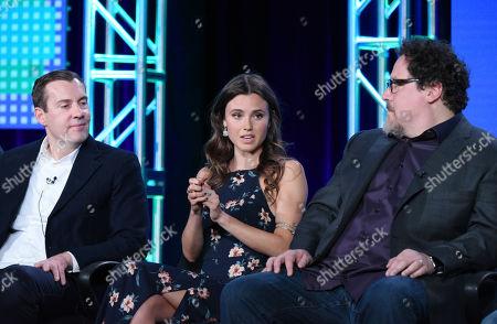 "Miles Millar, from left, Poppy Drayton and Jon Favreau speak during the ""The Shannara Chronicles"" panel at the MTV 2016 Winter TCA, in Pasadena, Calif"
