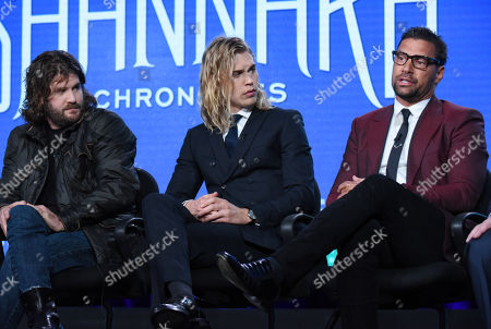"""Jonathan Liebesman, from left, Austin Butler and Manu Bennett speak during the """"The Shannara Chronicles"""" panel at the MTV 2016 Winter TCA, in Pasadena, Calif"""