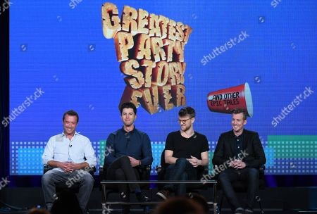 """Stock Photo of Alex Bulkley, from left, Ben Nemtin, Jonnie Pen and Jordan Barrow speak during the Greatest Party Story Ever...And Other Epic Tales"""" panel at the MTV 2016 Winter TCA, in Pasadena, Calif"""