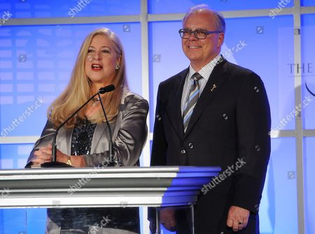 """MAY 2: (L-R) TV Academy Honors Committee Co-Chair Lynn Roth and Academy Chairman and CEO John Shaffner onstage at the Academy of Television Arts & Sciences onstage at the Academy of Television Arts & Sciences Presents """"The 5th Annual Television Academy Honors"""" at the Beverly Hills Hotel on in Beverly Hills, California"""