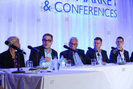 Yolanda T. Cochran, and from left, Mike Gabrawy, Hawk Koch, Fredrik Malmberg and Christopher Pettit at the 2014 American Film Market Finance Conference at the Fairmont Hotel on Friday, Nov. 7, in Santa Monica, Calif