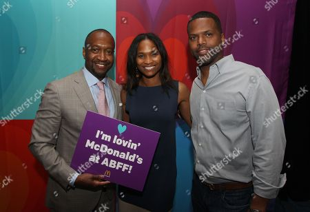 Jeff Friday left, Nicole Friday and AJ Calloway are seen in the green room presented by McDonald's during the American Black Film Festival at Hilton Hotel, in New York