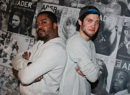 Baauer, right, and Just Blaze pose after performing at the Dell Preview Event at the Fader Fort presented by Converse, on in Austin, Texas
