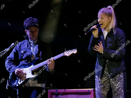 British singer Hannah Reid (R) and Dan Rothman of London Grammar at Bestival at Robin Hill,, on the Isle of Wight, England. Thousands of music fans are expected at the weekend's festival to see acts such as Beck, Outkast, Foals and Chic featuring Nile Rodgers