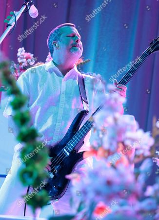 Billy Gould of the band Faith No More performs in concert during their Sol Invictus Tour 2015 at Skyline Stage at the Mann Center, in Philadelphia