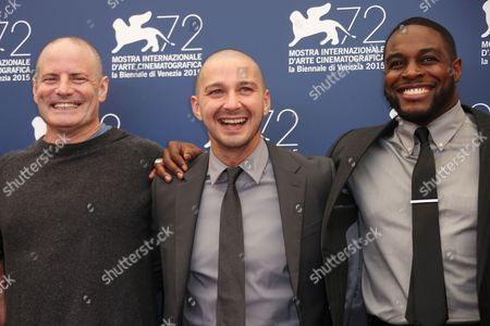 Stock Image of Dito Montiel,Shia La Beouf and Nick Jones Jr. pose for photographers at the photo call for the film Man Down 72nd edition of the Venice Film Festival in Venice, Italy, . The 72nd edition of the festival runs until Sept. 12