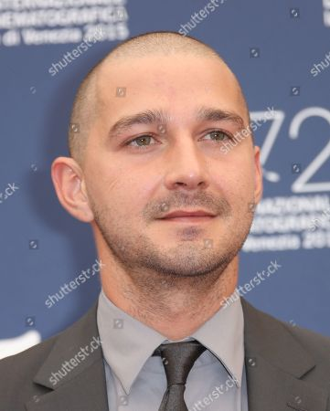 Stock Picture of Shia La Beouf poses for photographers at the photo call for the film Man Down 72nd edition of the Venice Film Festival in Venice, Italy, . The 72nd edition of the festival runs until Sept. 12
