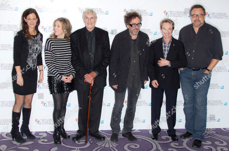 Allison Abbate, Catherine O'Hara, Martin Landau, Director Tim Burton, Martin Short and Don Hahn, from left to right, pose at a photocall for Tim Burton's Frankenweenie during the London Film Festival at The Odeon, Leicester Square on in London, UK
