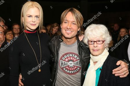 """Form left, actress Nicole Kidman, artist Keith Urban and veteran music executive Mary Martin at the opening of the """"Keith Urban So Far..."""" exhibit at the Country Music Hall of Fame and Museum on in Nashville, Tenn"""