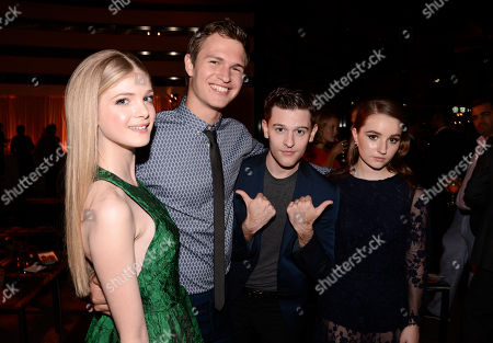 """Stock Photo of Elena Kampouris, and from left, Ansel Elgort, Travis Tope and Kaitlyn Dever attend the premiere of """"Men, Women & Children"""" at The Directors Guild of America, in Los Angeles"""