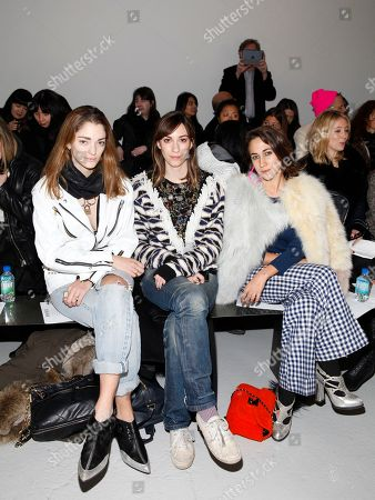 From left Sophia Sanchez, Gia Coppola and Delfina Delettrez Fendi attend the Rodarte 2014 Fall/Winter Collection during Mercedes Benz Fashion Week, in New York