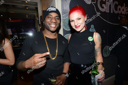 "Carly Aquilino and Charlamagne Tha God appear at the MTV ""Girl Code"" party to celebrate the launch of the ""GYT""- Get Yourself Tested- campaign on at Malt N Mash in New York City"